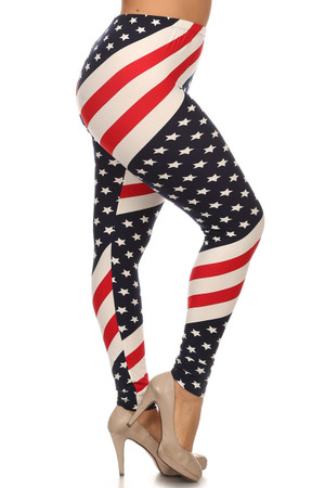 Wholesale Buttery Soft Mini Star Twist USA Flag Plus Size Leggings - 3X-5X