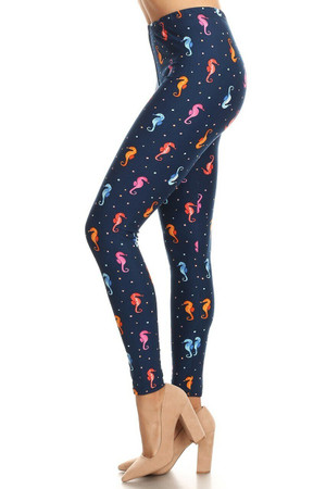Wholesale Buttery Soft Cute Seahorse Plus Size Leggings - LIMITED EDITION