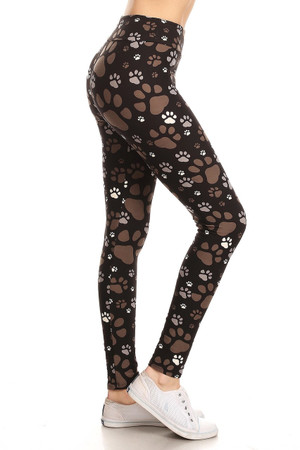 Wholesale Buttery Soft High Waisted Muddy Paw Print Leggings