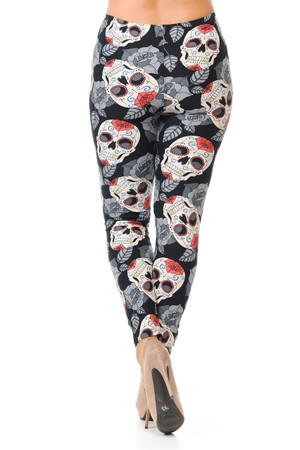 Wholesale Buttery Soft Rosette Sugar Skull Plus Size Leggings - 3X-5X