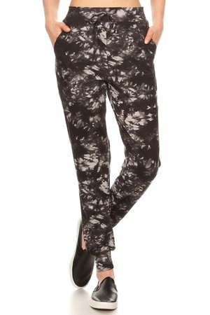 Wholesale Buttery Soft Black and Gray Tie Dye Joggers