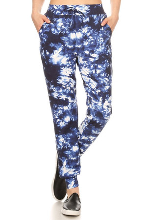 Wholesale Buttery Soft Navy and White Tie Dye Joggers