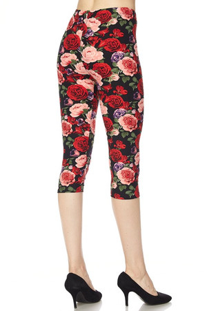 Side Image of Wholesale Buttery Soft Vivid Rose Capris