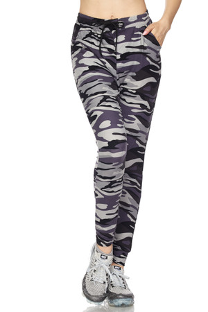 Wholesale Buttery Soft Gray Camouflage Joggers