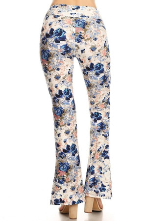 Wholesale Buttery Soft Picasso Floral Bell Bottom Leggings