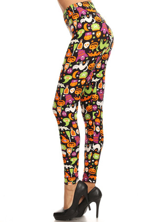 Wholesale Buttery Soft Monster Mash Halloween Plus Size Leggings - 3X-5X