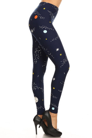 Wholesale Buttery Soft Outer Space Plus Size Leggings - 3X-5X