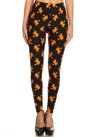 Wholesale Buttery Soft Broomstick Witches Halloween Plus Size Leggings