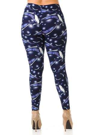 Wholesale Buttery Soft Blue Whale Plus Size Leggings - 3X-5X
