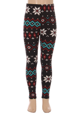 Wholesale Buttery Soft Sleigh Bell Snowflake Kids Leggings
