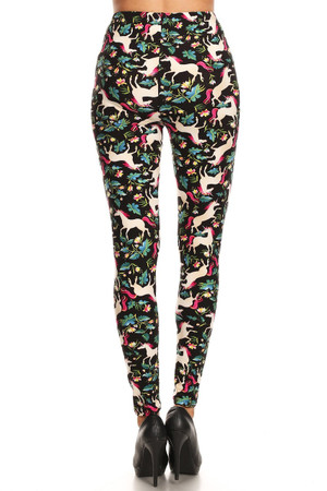 Wholesale Buttery Soft Woodland Unicorn Plus Size Leggings - Small Unicorns