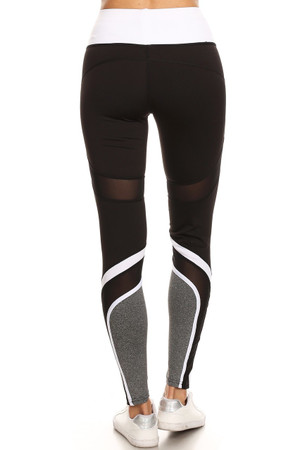 Wholesale Premium White Multi Mesh Panel Workout Leggings