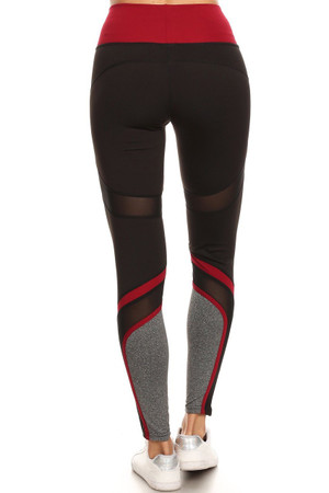 Wholesale Premium Burgundy Multi Mesh Panel Workout Leggings