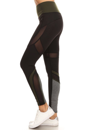 Wholesale Premium Olive Multi Mesh Panel Workout Leggings
