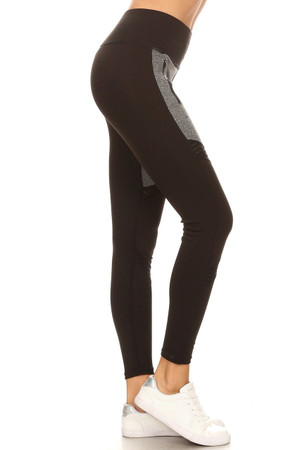 Wholesale Premium Front Panel Mesh Accent Workout Leggings