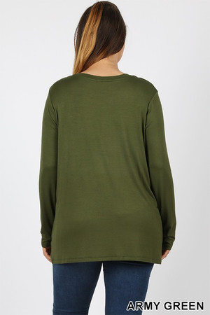 Wholesale Premium Round Neck Long Sleeve Rayon Plus Size Top