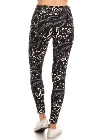 Wholesale Buttery Soft Music Note High Waisted Leggings