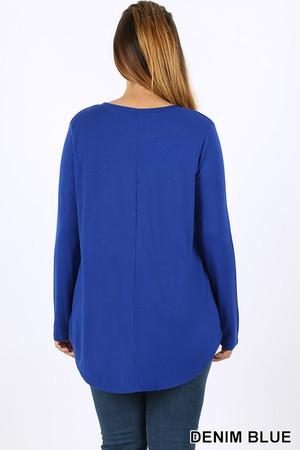 Wholesale Premium Round Neck Round Hem Long Sleeve Plus Size Top
