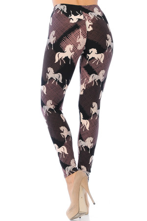 Wholesale Buttery Soft Mauve Stallion Plus Size Leggings - 3X-5X