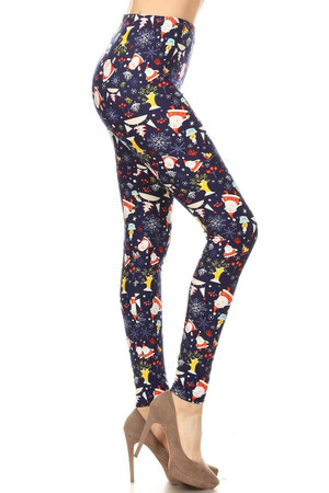 Wholesale Buttery Soft Santa Claus Medley Plus Size Leggings
