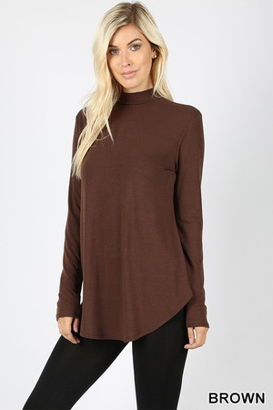 Wholesale Premium Long Sleeve Mock Neck Round Hem Top