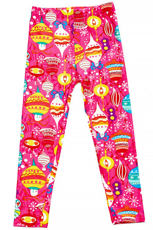 Wholesale Buttery Soft Pink Christmas Kids Leggings