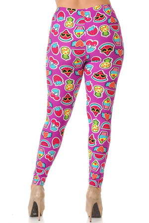 Wholesale Buttery Soft  Cartoon Fruit Plus Size Leggings
