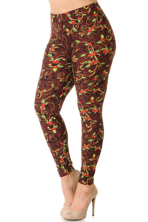 Wholesale Buttery Soft Christmas Holly Plus Size Leggings