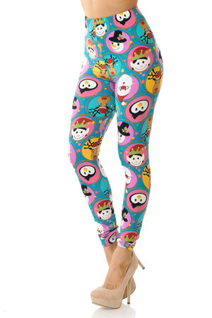 Wholesale Buttery Soft Cute Christmas Faces Plus Size Leggings - 3X-5X