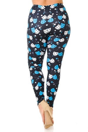 Wholesale Creamy Soft Comedy Tragedy Mask Plus Size Leggings