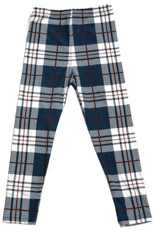 Wholesale Buttery Soft Navy Plaid Kids Leggings