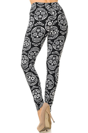 Wholesale Buttery Soft Symmetrical Sugar Skull Leggings
