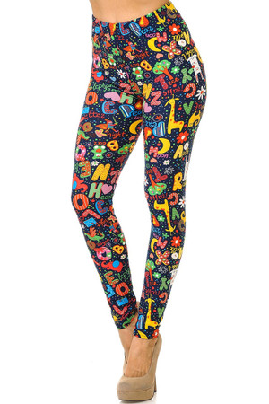 Wholesale Buttery Soft Animal Letters Plus Size Leggings - 3X - 5X