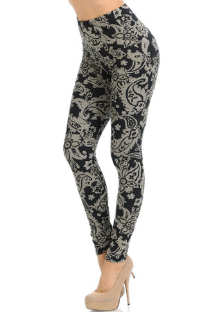 Wholesale Buttery Soft Champagne  Paisley Leggings