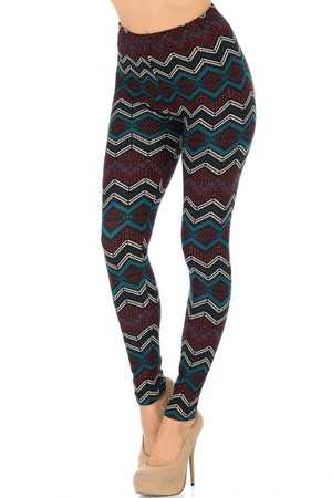 Wholesale Buttery Soft Chevron Bands Leggings