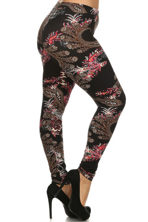 Right leg side image of Wholesale Buttery Soft Berry Plume Plus Size Leggings - 3X - 5X