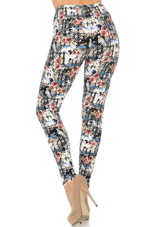 Wholesale Buttery Soft Scratch Floral Leggings