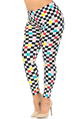 Wholesale Buttery Soft Color Accent Checkered Plus Size Leggings