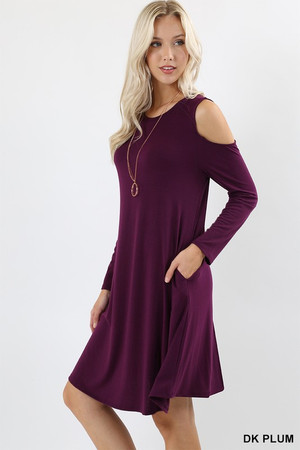 Wholesale Premium Long Sleeve Cold Shoulder Rayon Tunic with Pockets