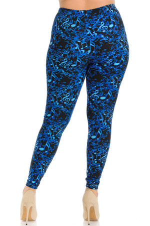 Wholesale Buttery Soft Electric Blue Music Note Plus Size Leggings