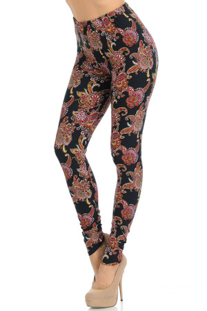 Wholesale Buttery Soft Cranberry Paisley Leggings