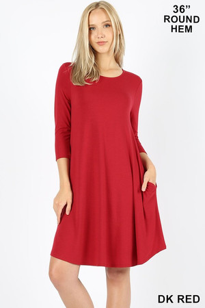 Wholesale 3/4 Sleeve Longline Round Hem Rayon Tunic with Pockets