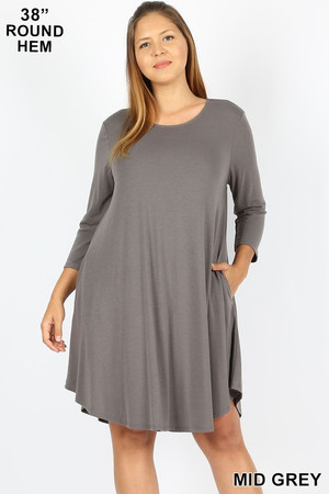 Wholesale 3/4 Sleeve Longline Round Hem Plus Size Rayon Tunic with Pockets