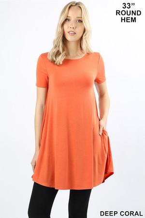 Wholesale Round Neck Round Hem Short Sleeves Tunic with Pockets