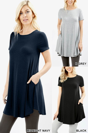 Wholesale Round Neck Round Hem Short Sleeves Tunic with Pockets