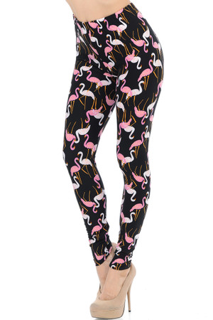 Wholesale Buttery Soft Pink and White Flamingo Plus Size Leggings - 3X-5X