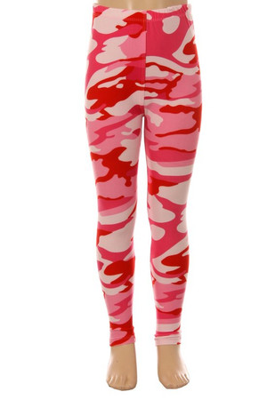 Wholesale Buttery Soft Pink Camouflage Kids Leggings - EEVEE