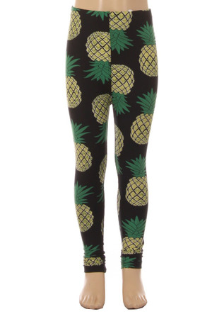 Wholesale Buttery Soft Green Pineapple Kids Leggings - EEVEE