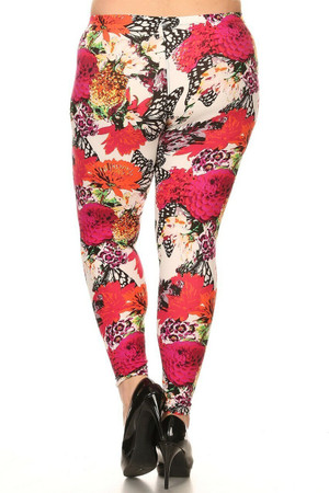 Wholesale Buttery Soft Butterfly Garden Plus Size Leggings