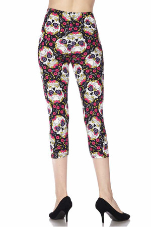 Wholesale Buttery Soft Pink Petal Sugar Skull Capris